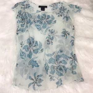 The Limited Blue Flower Silk Blouse